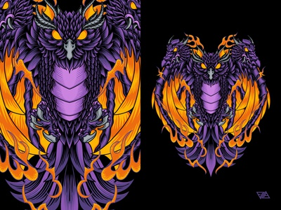Owl Dragon chinese character monster bird flame ornament japanese dragon owl poster apparel branding art logo artwork animal design tshirt illustration vector