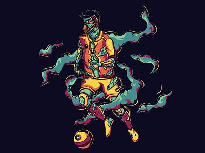 Fotball 2077 player sport football illustration flat vector