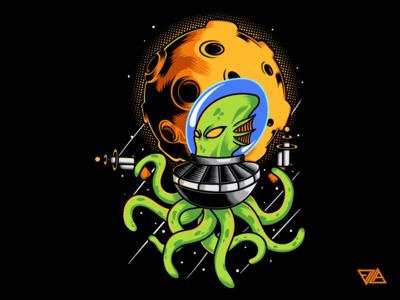 Space Trooper sticker poster ornament artwork merchandise merch drawing tshirt design apparel octopus alien art branding logo flat design animal tshirt illustration vector
