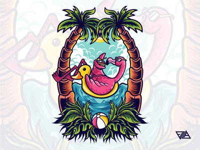 Summer Flamingo bird sticker art summer flamingo poster apparel branding logo flat design artwork tshirt animal illustration vector