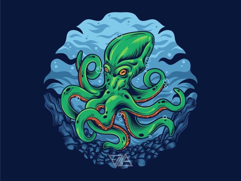 Octopus design tshirt artwork logodesign logo merchandise apparel tshirtdesign ocean octopus fish sea animal digital art illustrations vector