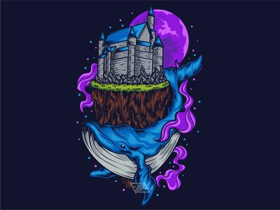 Whale Illustration print merchandise apparel logo house castle landscape whale animal tshirtdesign tshirt apparel logo design artwork illustration vector