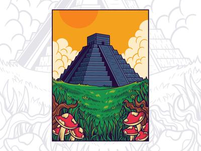 Mesoamerican pyramids mushroom mayan aztec pyramid landscape poster art branding apparel logo design artwork tshirt illustration vector