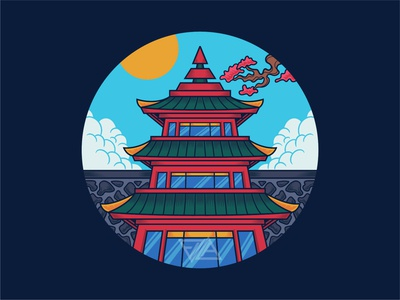 Japanese Temple Icon temple pagoda building ornament pattern traditional japanese culture japanese icon poster flat branding art apparel logo design artwork tshirt illustration vector