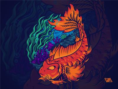 Yinyang yinyang fish ocean sea koi koi fish poster flat branding art logo design artwork animal tshirt illustration vector