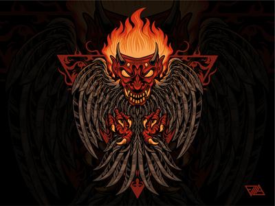 Demon Bird fire pattern ornament graphic merchandise evil demon owl bird branding art apparel mask logo artwork design animal tshirt illustration vector