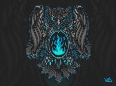 Bird Ornament Illustration pattern falcon vintage fire badge emblem owl flame ornament poster art branding apparel logo artwork design animal tshirt illustration vector