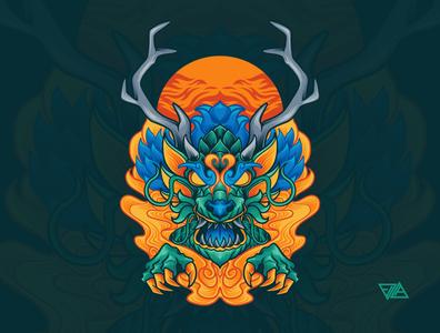 Dragon patterns ornaments motive flower floral asian japanese chinese dragon poster branding art apparel logo artwork design animal tshirt illustration vector