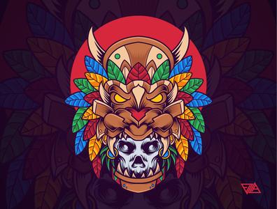 Skull Mask flower motive logo tattoo traditional culture lion floral skull hawaiian ornament poster branding art apparel tshirt design animal illustration vector
