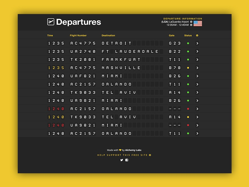 Departures - Airport Flipboard ui design ux design travel