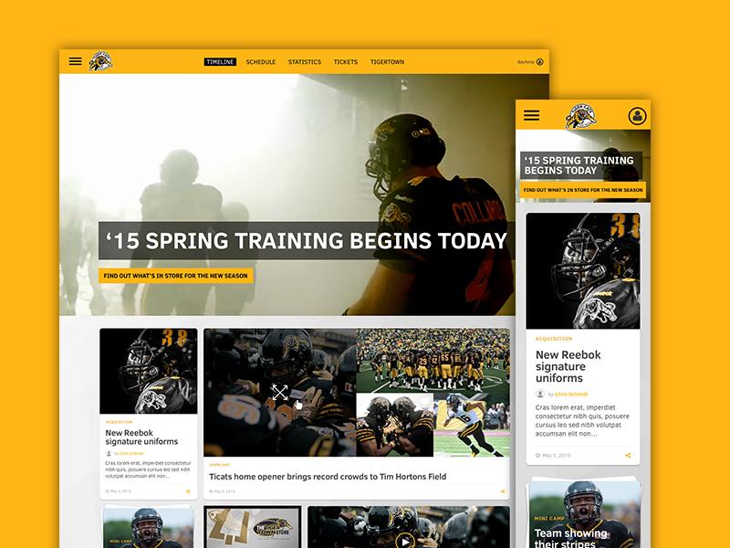 Hamilton Tiger-Cats responsive design ux design news feed cfl football