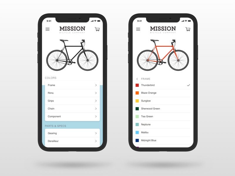 Daily ui 032 - Customize product product customization bike mission bicycle company 032 daily ui