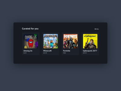 Daily ui 091 - Curated for you steam video games curated for you 091 daily ui