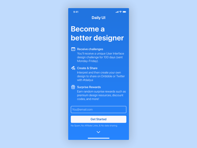 Daily ui 100 - Redesign daily UI landing page 100 daily ui