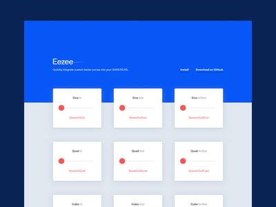 Eezee — Easing Library for SASS/SCSS prototype animation fakt website sass easing development tool interface ui design