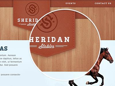 Sheridan Stables — Website Concept website stitching logo wood header horse design leather homestead wisdom script