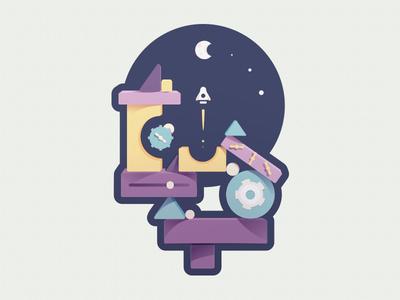 Building Blocks to the Moon - Sticker Design