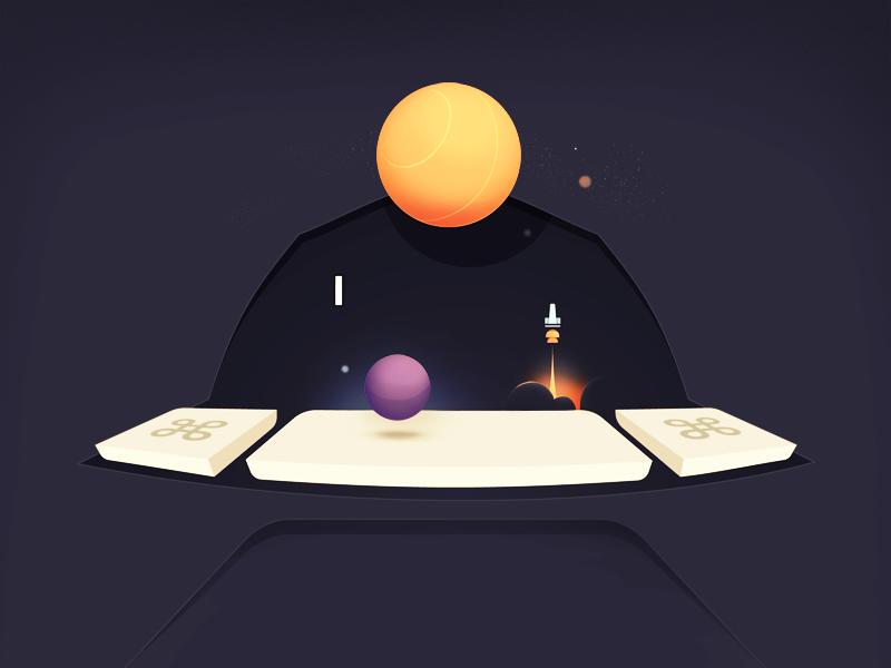 Spacebar interface cursor command keys keyboard night stars rocket planet pun spacebar space