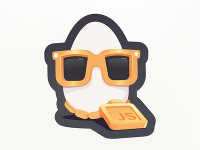 Eggo's Javascipt Bling - New Stickers swag necklace gold bling react javascript egghead mascot character egg js sticker