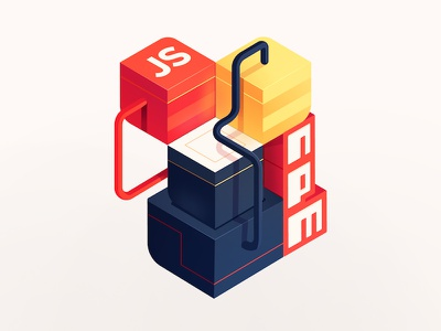 JS Packages & NPM Piping badge transport system cubes boxes piping pipes development code npm packages javascript