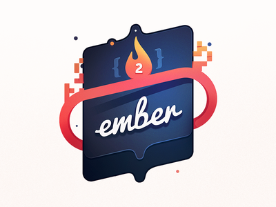 Ember! 2! coding class programming developers badge course education code heat flame fire ember