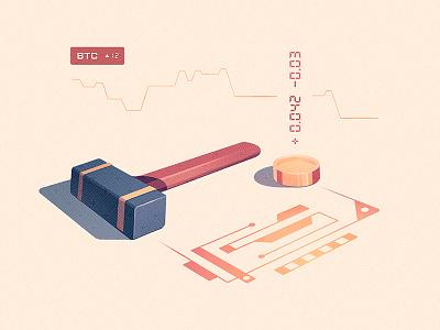 Mining Bits graph gold pickaxe mine bits transaction money code coin hammer mining bitcoin
