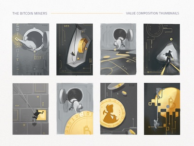 Bitcoin Miner Thumbnails composition sketches cryptocurrency gold coins miner bitcoin value study wip process thumbnails