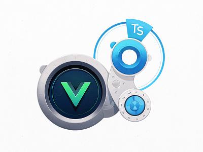 Vue.js Ophthalmologist Lenses wheels machine mechanics tech tools mech measurement lens badge developers coding code