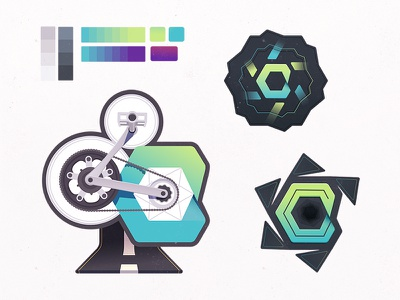 Cycle.js Castoffs wheel gears bicycle drafts process badge spin developers coding code javascript cycle