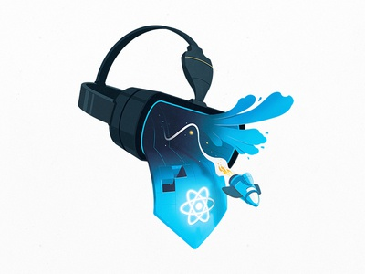 Building VR with React course developers goggles headset clouds explosion spaceship coding code react virtual reality vr