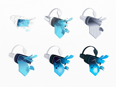 Evolution of React VR draft spaceship evolution iteration wip sketch process goggles headset virtual reality vr react