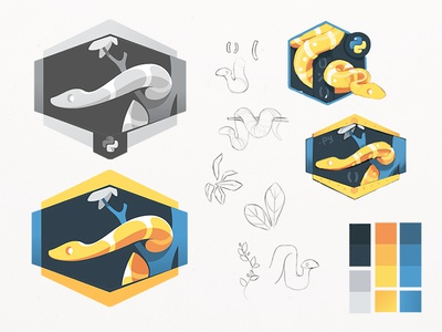 The Python Process draft code badge jungle wip programming python snake palette sketches process