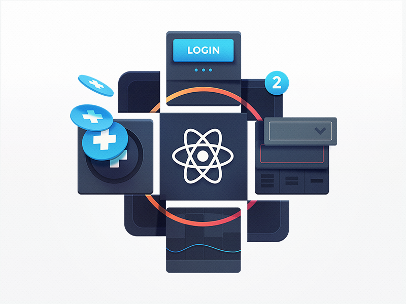 Advanced React Patterns coding dropdown button menu badge course education programming notification add flying react