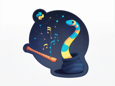 Machine Learning in Python programming musical note notes flute ai machine learning charm music snake python