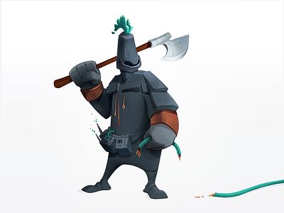 Black Helmet Hacker chop weapon armour black hat hack warrior criminal wires axe cybersecurity hacker knight