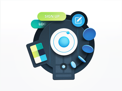 Styling Ionic physics atom icons badge course color palette buttons ui styles coding code web development ionic