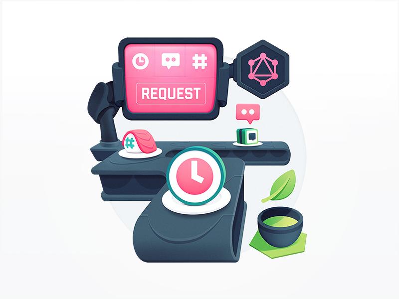 API's Serving Up Sushi request ordering green tea food restaurant menu roll graphql api automation conveyor belt sushi