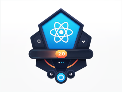 Advanced React 2.0 improvement atom javascript tech developers education programming navigation update button coding code development lesson badge course composition ui react
