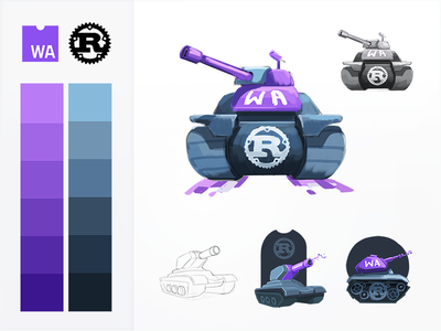 Trundling Tank Sketches tracks coding badge course code web development machinery rust vehicle war artilery tank