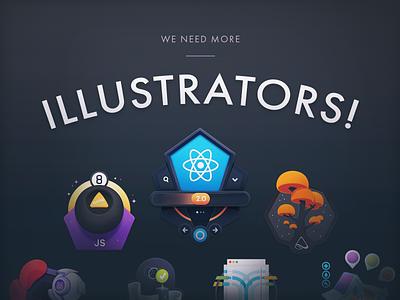 Egghead Needs Illustrators javascript react development tech developers education programming coding code job application badge course freelance job illustrators hiring