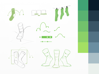 Greensock Sketches clothesline bezier timeline animation process wip drafts sketches feet foot greensock socks
