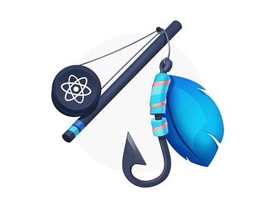 Custom React Hooks javascript developers programming course badge hook fishing pole reel feather fishing hooks react coding code