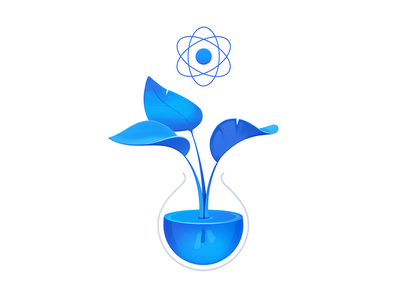 Pure React Plant tech developers programming course coding code purity science glass beaker leaves plant pure react