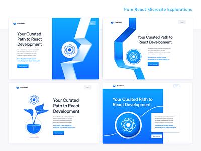 Pure React Microsite Explorations development landing page javascript tech education developers programming course coding code react microsite