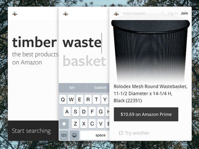Timber Mobile Web responsive product web website amazon