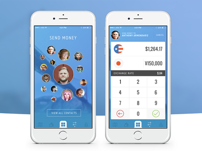 Peer-to-peer money transfer funsize design mobile mobile-payments payment wallet banking ios ui ux fnsz