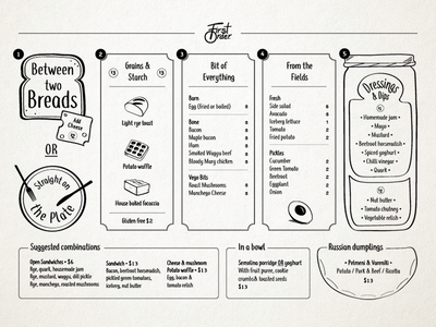 Cafe Menu grid illustrator cafe food menu illustrate