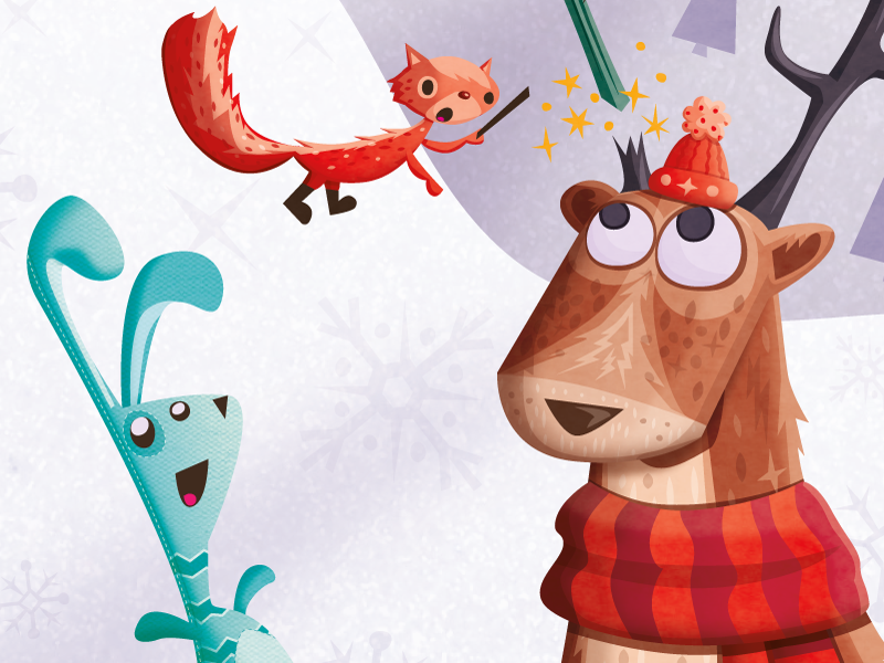 Christmas Card 2013 christmas vector deer antlers squirrel winter puppets rabbit magic snow