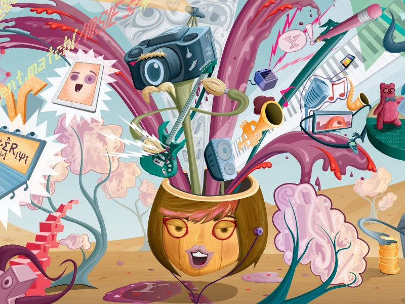 Yahoo Mural Detail 2 vector illustration mural collabo arts yahoo