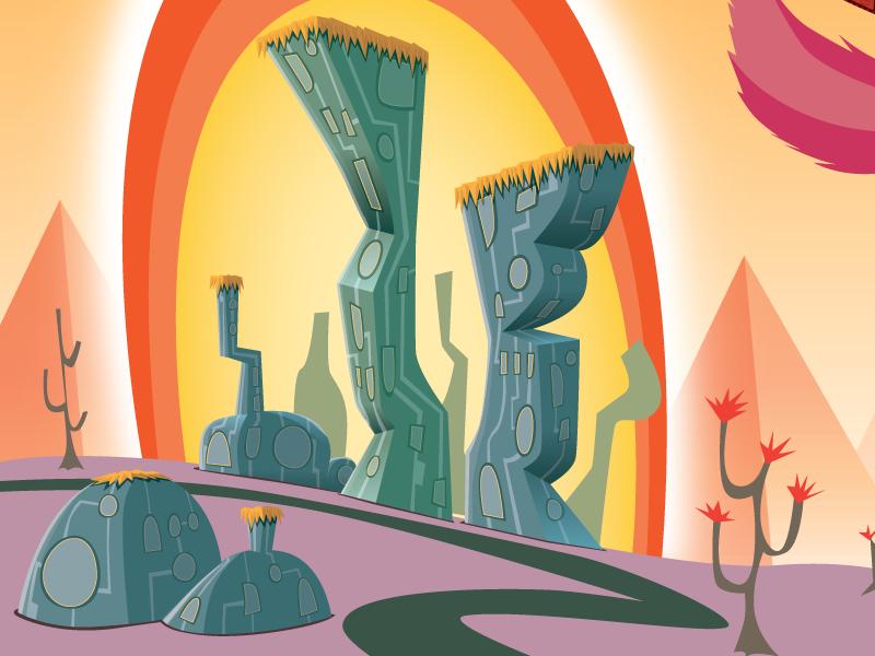 Middle II phoenix vector illustration city